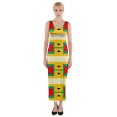 Connected squares and triangles Fitted Maxi Dress