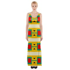 Connected squares and triangles Maxi Thigh Split Dress