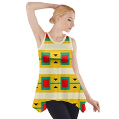 Connected Squares And Triangles Side Drop Tank Tunic
