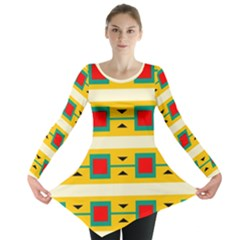 Connected Squares And Triangles Long Sleeve Tunic