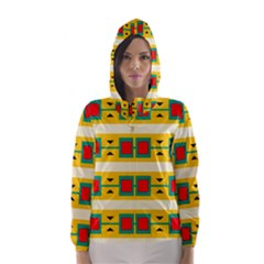 Connected squares and triangles Hooded Wind Breaker (Women)
