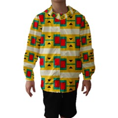 Connected squares and triangles Hooded Wind Breaker (Kids)