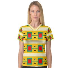 Connected Squares And Triangles Women s V Neck Sport Mesh Tee