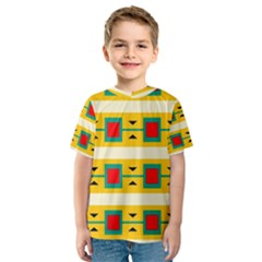 Connected squares and triangles Kid s Sport Mesh Tee