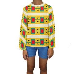Connected squares and triangles  Kid s Long Sleeve Swimwear