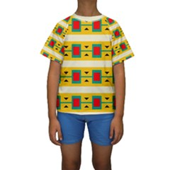 Connected squares and triangles  Kid s Short Sleeve Swimwear