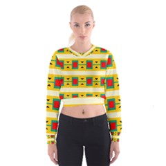 Connected Squares And Triangles   Women s Cropped Sweatshirt