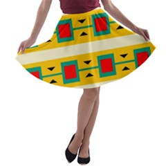Connected squares and triangles A-line Skater Skirt