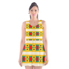Connected squares and triangles Scoop Neck Skater Dress
