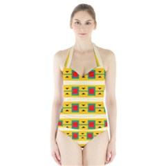 Connected Squares And Triangles Women s Halter One Piece Swimsuit