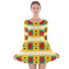 Connected squares and triangles Long Sleeve Velvet Skater Dress