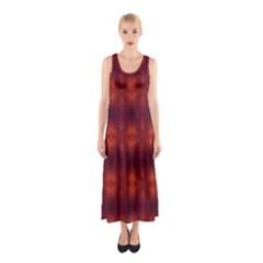 Brown Diamonds Pattern Full Print Maxi Dress