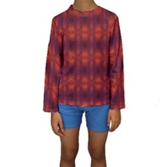 Brown Diamonds Pattern Kid s Long Sleeve Swimwear