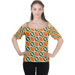 Chains and squares pattern Women s Cutout Shoulder Tee