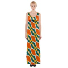 Chains and squares pattern Maxi Thigh Split Dress