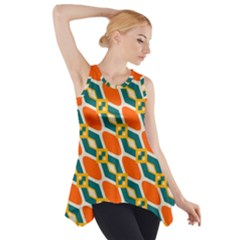 Chains And Squares Pattern Side Drop Tank Tunic