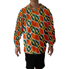 Chains and squares pattern Hooded Wind Breaker (Kids)