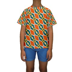 Chains and squares pattern  Kid s Short Sleeve Swimwear