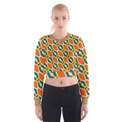 Chains and squares pattern   Women s Cropped Sweatshirt