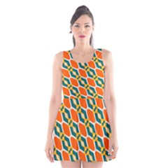 Chains And Squares Pattern Scoop Neck Skater Dress