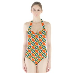 Chains And Squares Pattern Women s Halter One Piece Swimsuit