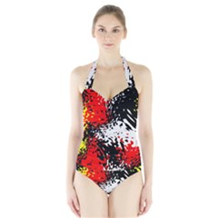 Glass Texture  Women s Halter One Piece Swimsuit