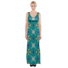Flowers and stars pattern   Maxi Thigh Split Dress
