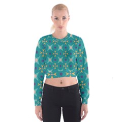 Flowers and stars pattern     Women s Cropped Sweatshirt
