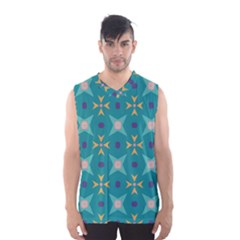 Flowers and stars pattern   Men s Basketball Tank Top