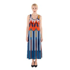Textured Shapes In Retro Colors    Full Print Maxi Dress