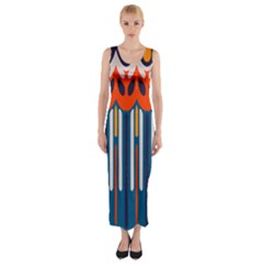 Textured Shapes In Retro Colors    Fitted Maxi Dress