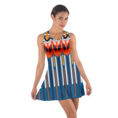 Textured Shapes In Retro Colors    Cotton Racerback Dress