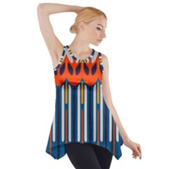 Textured Shapes In Retro Colors    Side Drop Tank Tunic
