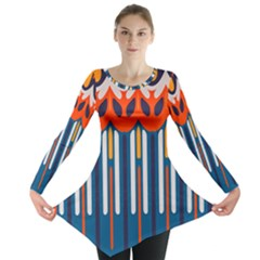 Textured shapes in retro colors    Long Sleeve Tunic