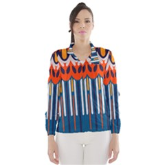 Textured Shapes In Retro Colors    Wind Breaker (women)