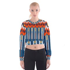 Textured Shapes In Retro Colors      Women s Cropped Sweatshirt