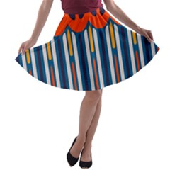 Textured shapes in retro colors    A-line Skater Skirt