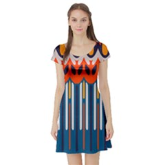 Textured Shapes In Retro Colors    Short Sleeve Skater Dress