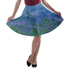 Fantasy Landscape Photo Collage A-line Skater Skirt