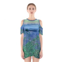 Fantasy Landscape Photo Collage Cutout Shoulder Dress