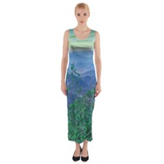 Fantasy Landscape Photo Collage Fitted Maxi Dress