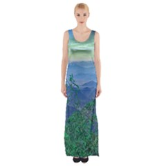 Fantasy Landscape Photo Collage Maxi Thigh Split Dress