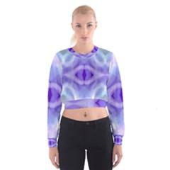 Beautiful Blue Purple Pastel Pattern, Women s Cropped Sweatshirt