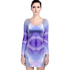 Beautiful Blue Purple Pastel Pattern, Long Sleeve Velvet Bodycon Dress