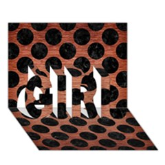 Circles2 Black Marble & Copper Brushed Metal (r) Girl 3d Greeting Card (7x5)