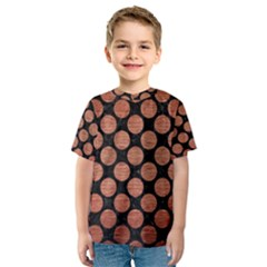 Circles2 Black Marble & Copper Brushed Metal Kids  Sport Mesh Tee