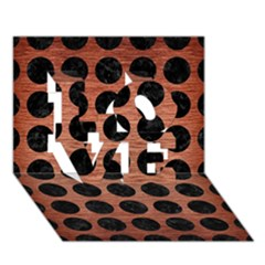 Circles1 Black Marble & Copper Brushed Metal (r) Love 3d Greeting Card (7x5)