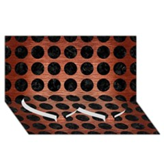 Circles1 Black Marble & Copper Brushed Metal (r) Twin Heart Bottom 3d Greeting Card (8x4)