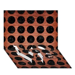 Circles1 Black Marble & Copper Brushed Metal (r) Love Bottom 3d Greeting Card (7x5)