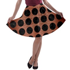 CIR1 BK MARBLE COPPER (R) A-line Skater Skirt